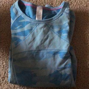 blue camo style athletic shirt